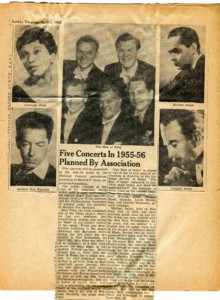 Newspaper clipping featuring artists featured in the 1955-56 season