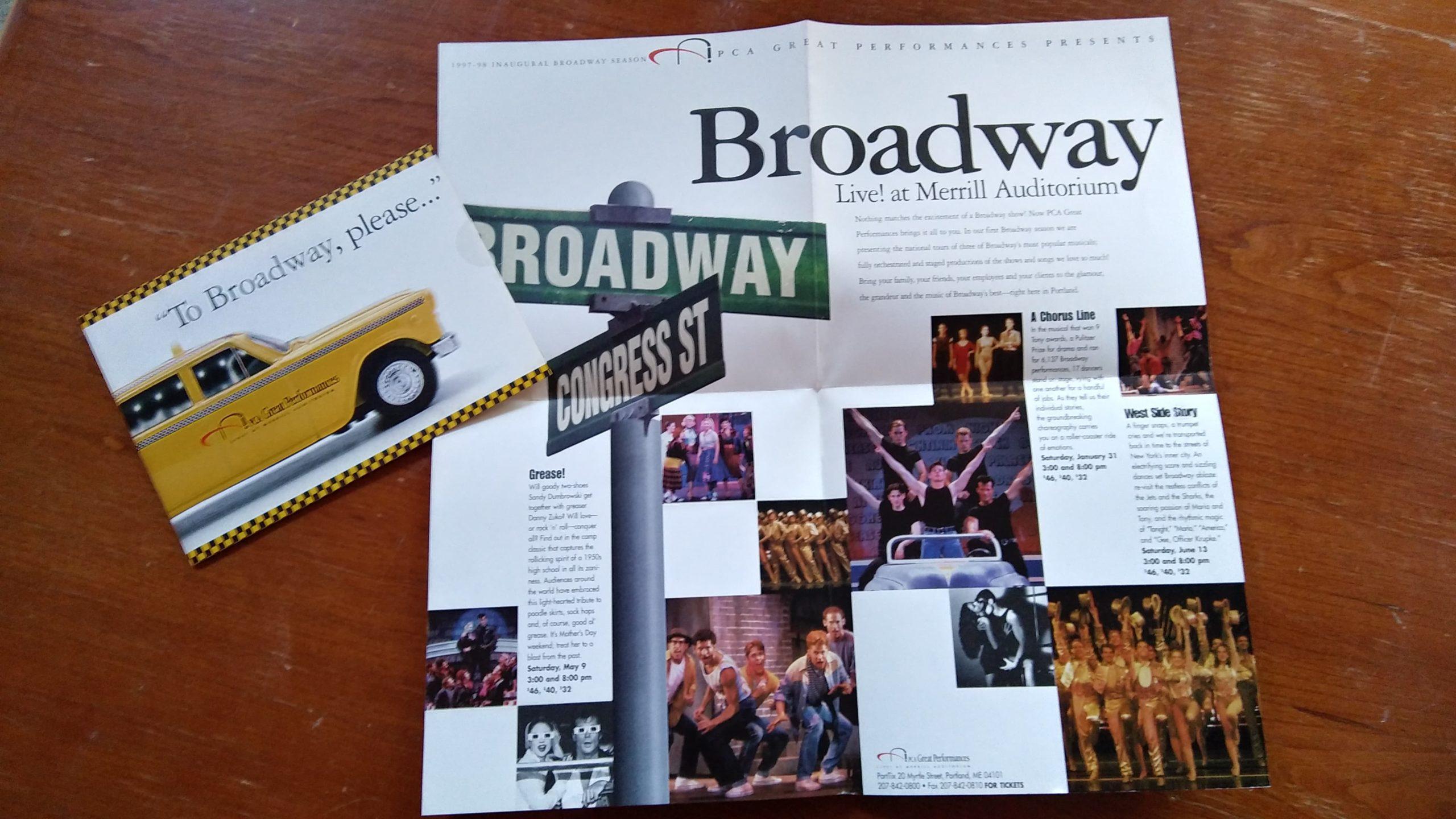 Image of Broadway flier from Ovations' 1997-98 season