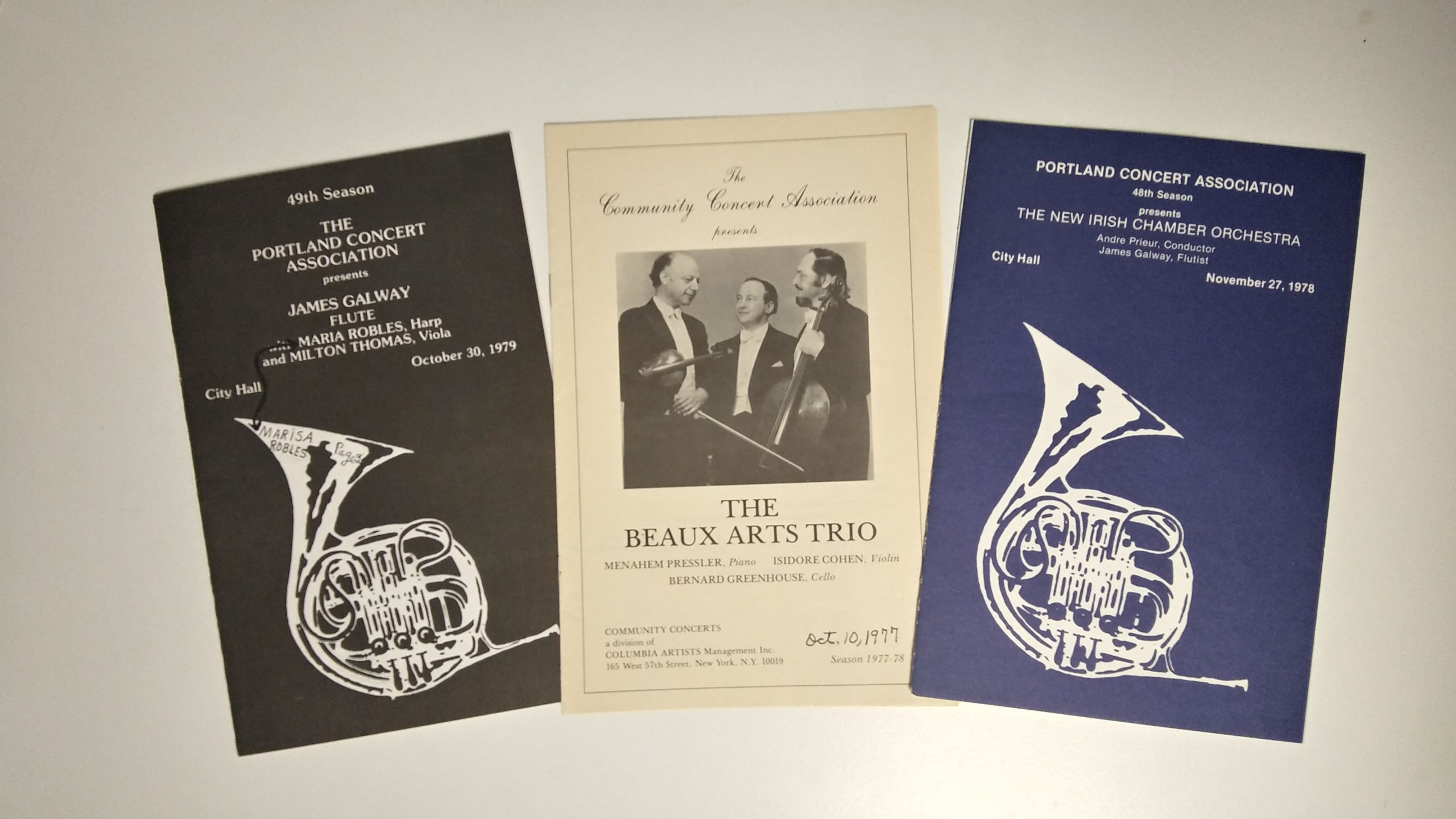 Image of 3 Portland Concert Association program books from the 1970s